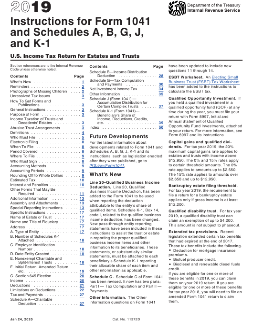 IRS Form 1041 Schedule A, B, G, J, K-1 2019 Printable Pdf