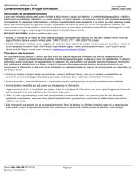 "Formulario SSA-3288-SP ""Consentimiento Para Divulgar Informacion"" (Spanish)"