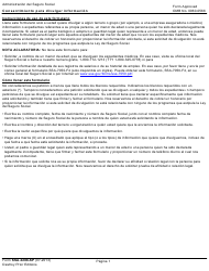 Form SSA-3288-SP Consentimiento Para Divulgar Informacion