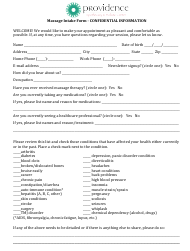 Massage Intake Form - Providence Apothecary & Holistic Center