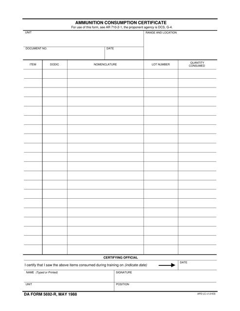DA Form 5692-r Fillable Pdf