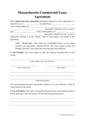"""Commercial Lease Agreement Template"" - Massachusetts"