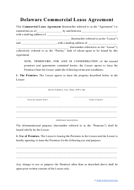 """""""Commercial Lease Agreement Template"""" - Delaware"""