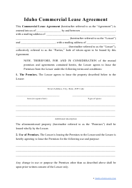 """""""Commercial Lease Agreement Template"""" - Idaho"""