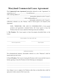 """""""Commercial Lease Agreement Template"""" - Maryland"""