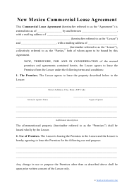 """Commercial Lease Agreement Template"" - New Mexico"