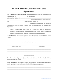 """""""Commercial Lease Agreement Template"""" - North Carolina"""
