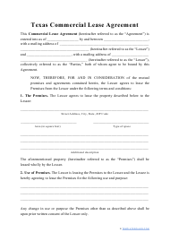 """""""Commercial Lease Agreement Template"""" - Texas"""