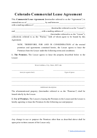 """Commercial Lease Agreement Template"" - Colorado"