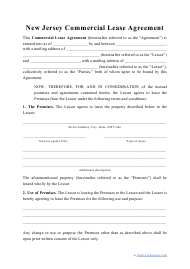 """""""Commercial Lease Agreement Template"""" - New Jersey"""