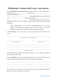 """Commercial Lease Agreement Template"" - Oklahoma"
