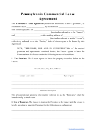 """Commercial Lease Agreement Template"" - Pennsylvania"