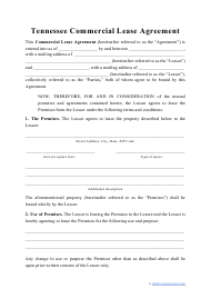 """Commercial Lease Agreement Template"" - Tennessee"