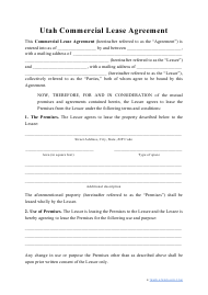 """""""Commercial Lease Agreement Template"""" - Utah"""