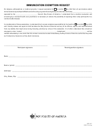 "Form 680-451 ""Immunization Exemption Request Form - Boy Scouts of America"""