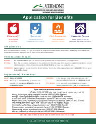 "Form 202 ""Application for Benefits"" - Vermont"