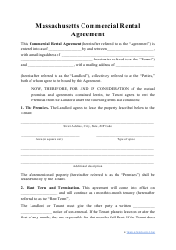 """""""Commercial Rental Agreement Template"""" - Massachusetts"""