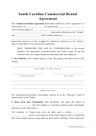 """""""Commercial Rental Agreement Template"""" - South Carolina"""