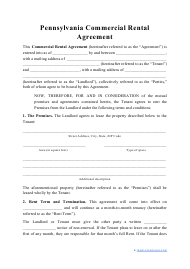 """Commercial Rental Agreement Template"" - Pennsylvania"