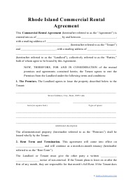 """Commercial Rental Agreement Template"" - Rhode Island"