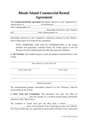 """Commercial Rental Agreement Template"" - Rhode Island"