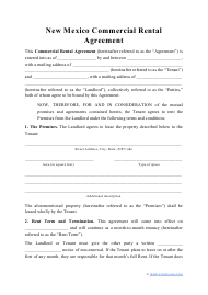 """Commercial Rental Agreement Template"" - New Mexico"