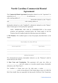 """Commercial Rental Agreement Template"" - North Carolina"