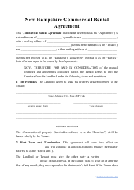 """Commercial Rental Agreement Template"" - New Hampshire"