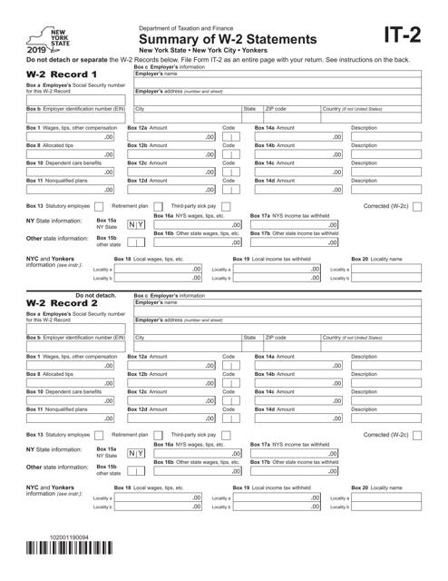 Form IT-2 2019 Printable Pdf