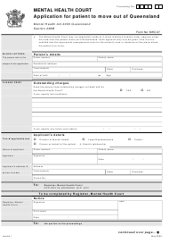 "Form 7 ""Application for Patient to Move out of Queensland"" - Queensland, Australia"