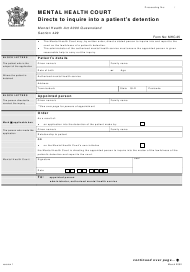 """Form 25 """"Directs to Inquire Into a Patient's Detention"""" - Queensland, Australia"""