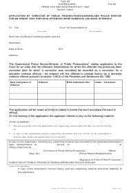 "Form 80 ""Application by *director of Public Prosecutions/Queensland Police Service for an Order That Previous Offences Were Domestic Violence Offences"" - Queensland, Australia"
