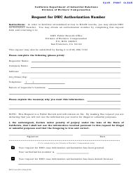 "DWC Form AD-3 ""Request for DWC Authorization Number"" - California"
