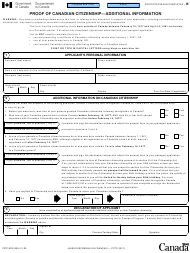 "Form PPTC001 ""Proof of Canadian Citizenship - Additional Information"" - Canada"