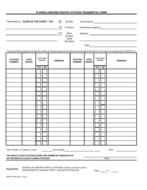 Form HSMV75954  Printable Pdf
