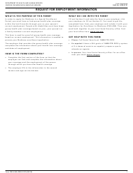 """Form CMS-L564 """"Request for Employment Information"""""""