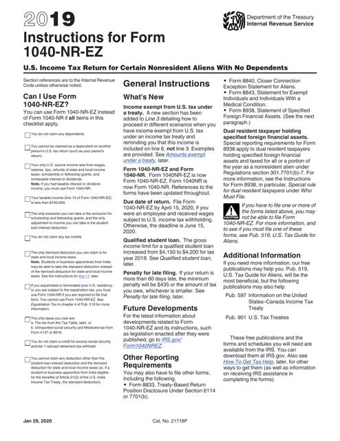 IRS Form 1040-NR-EZ 2019 Printable Pdf