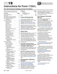 "Instructions for IRS Form 1120-L ""U.S. Life Insurance Company Income Tax Return"""