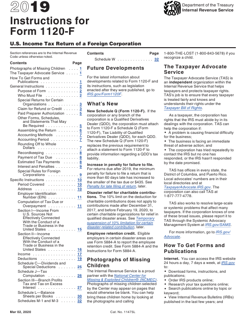 IRS Form 1120-F 2019 Printable Pdf