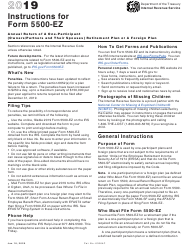 """Instructions for IRS Form 5500-EZ """"Annual Return of One Participant (Owners and Their Spouses) Retirement Plan or a Foreign Plan"""", 2019"""