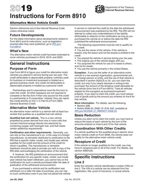IRS Form 8910 2019 Printable Pdf