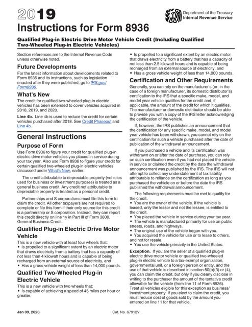 IRS Form 8936 2019 Printable Pdf