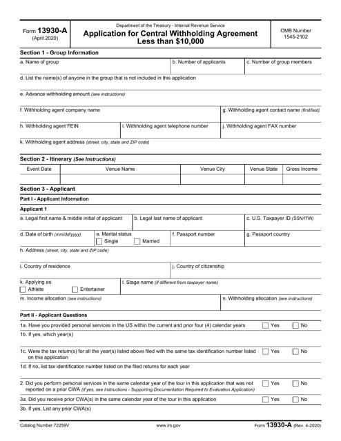 IRS Form 13930-A Printable Pdf