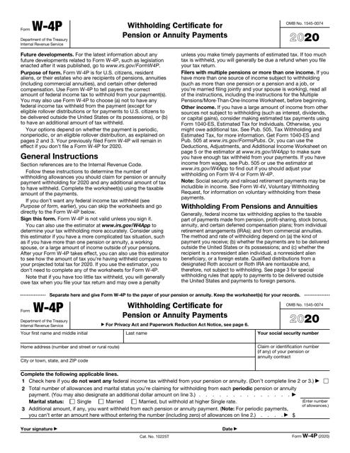 IRS Form W-4P 2020 Printable Pdf