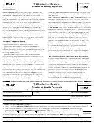 """IRS Form W-4P """"Withholding Certificate for Pension or Annuity Payments"""""""