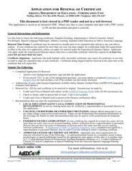 """Application for Renewal of Certificate"" - Arizona"