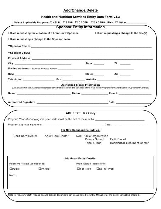 """""""Health and Nutrition Services Entity Data Form - Add/Change/Delete Form"""" - Arizona Download Pdf"""