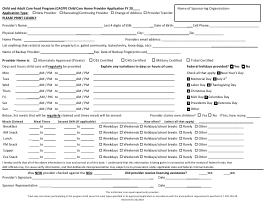 """""""Child and Adult Care Food Program (CACFP) Child Care Home Provider Application"""" - Arizona Download Pdf"""