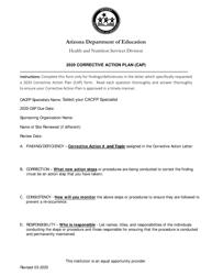 """Corrective Action Plan (CAP)"" - Arizona, 2020"