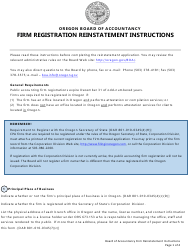 """Firm Reinstatement Application"" - Oregon"